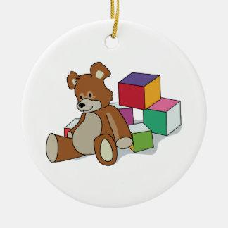 TEDDY BEAR AND BLOCKS CHRISTMAS ORNAMENTS