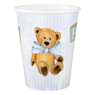 Teddy Bear and Blocks on Blue Stripes Paper Cup