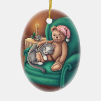 Teddy Bear and Cat Ornament