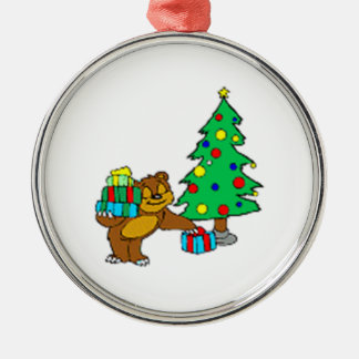 Teddy Bear and Christmas Tree Silver-Colored Round Decoration