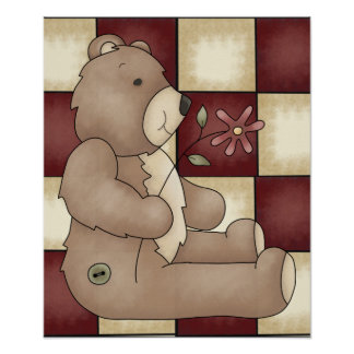 Teddy Bear and Flower Poster and Print