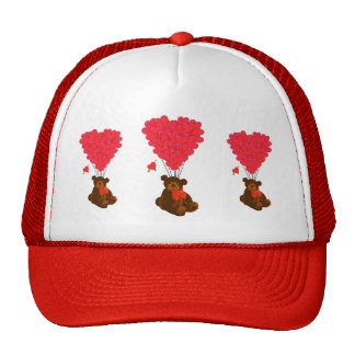 Teddy bear and  heart balloons cap