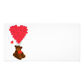 Teddy bear and  heart balloons picture card
