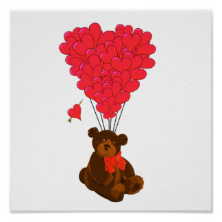 Teddy bear and  heart balloons posters