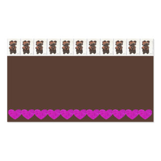 Teddy Bear and Hearts Business Card Gingerbread 1