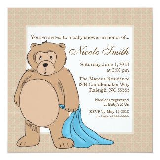 Teddy Bear and His Blanket 5.25x5.25 Square Paper Invitation Card