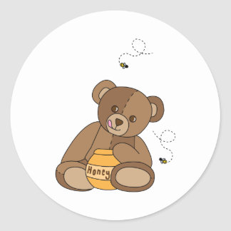 Teddy Bear And Honey Classic Round Sticker