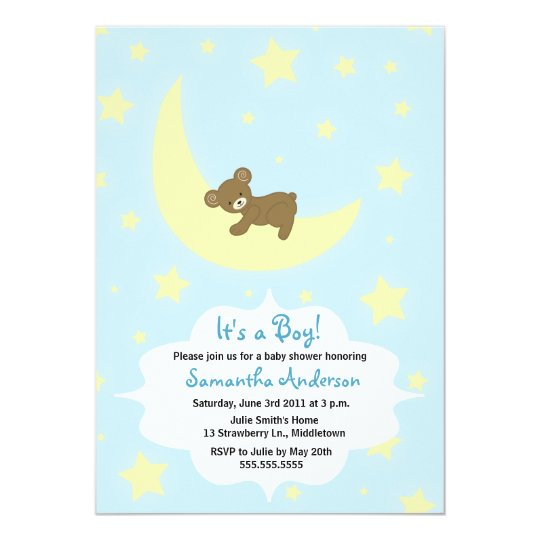Teddy Bear and Moon Baby Shower Invite - Boy