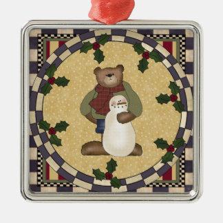 Teddy Bear and Snowman Christmas Ornament