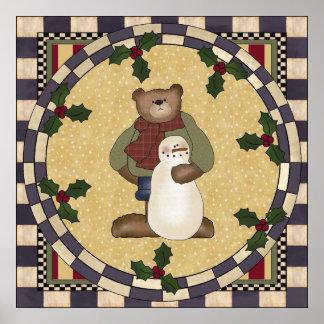 Teddy Bear and Snowman Poster