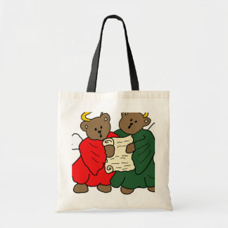 Teddy Bear Angels in Red and Green Choir Robes Budget Tote Bag