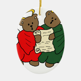 Teddy Bear Angels in Red and Green Choir Robes Christmas Tree Ornament