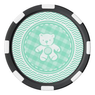 Teddy Bear; Aqua Green Chevron Poker Chips Set
