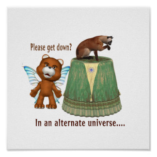 teddy bear asking siamese off table txt alternate posters