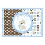 Teddy Bear Baby Boy Baby Shower Blue Personalised Invitation