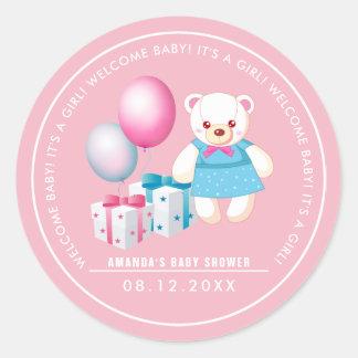 Teddy Bear | Baby Girl Baby Shower Favor Stickers