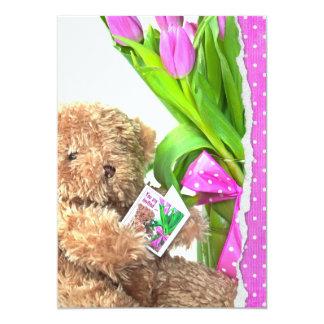 "Teddy Bear Baby Girl Shower 5"" X 7"" Invitation Card"