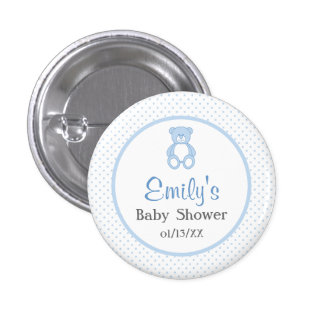 Teddy Bear Baby Shower Button - Boy