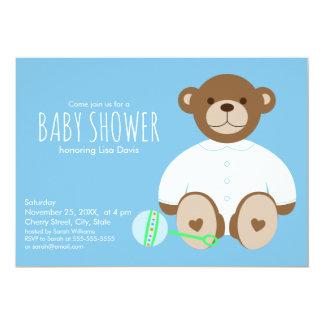 Teddy Bear Baby Shower Invitation, blue background Card