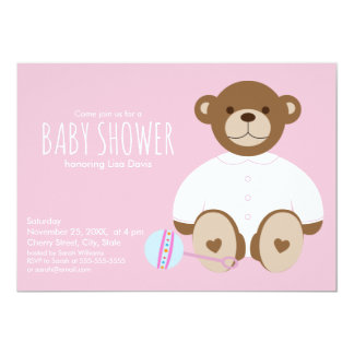 Teddy Bear Baby Shower Invitation, pink background Card