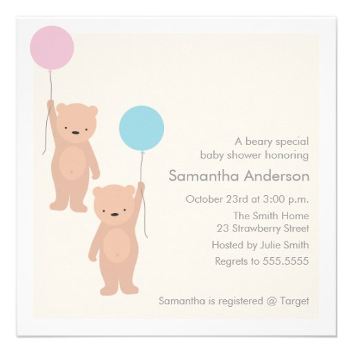 Teddy Bear Baby Shower Invitation - Twin Boy Girl