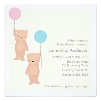 Teddy Bear Baby Shower Invitation - Twin Boy Girl