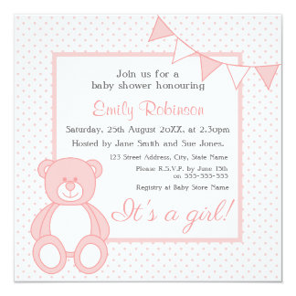 "Teddy Bear Baby Shower Invitations - Girl 5.25"" Square Invitation Card"