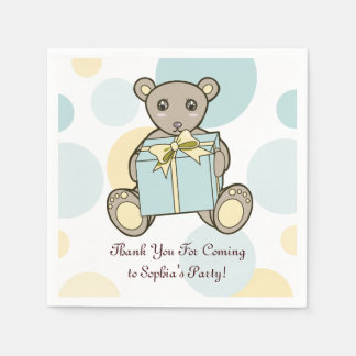 Teddy Bear Baby Shower or Kids Birthday Template Disposable Serviettes
