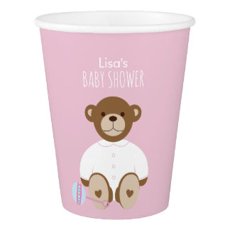 Teddy Bear Baby Shower Paper Cup, pink background Paper Cup