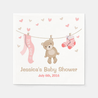 Teddy Bear Baby Shower Paper Napkin Girl Pink
