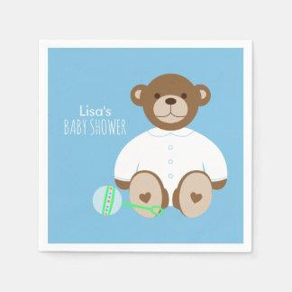 Teddy Bear Baby Shower Paper Napkin - on blue