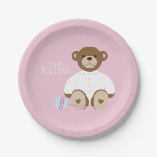 Teddy Bear Baby Shower Paper Plate - on pink