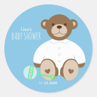 Teddy Bear Baby Shower Sticker, blue background Classic Round Sticker