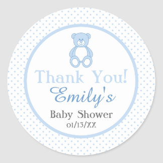 Teddy Bear Baby Shower Stickers - Boy
