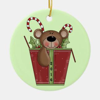 Teddy Bear - Baby's 1st Christmas Round Ceramic Decoration