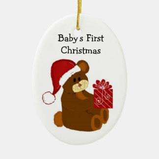 Teddy Bear Baby's First Christmas Ceramic Ornament