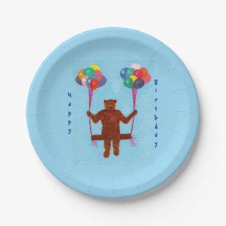 Teddy Bear Balloon Swing Birthday Plates