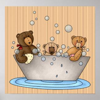 Teddy Bear Bathtime Print and Poster
