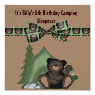 Teddy Bear Birthday Camp Sleepover Card