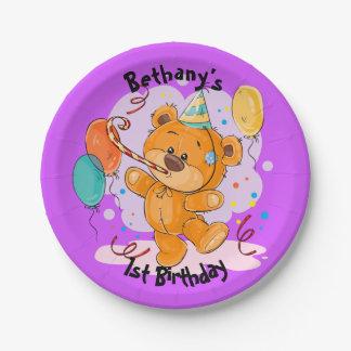 Teddy Bear Birthday Paper Plate