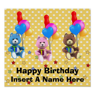 Teddy Bear Birthday Poster