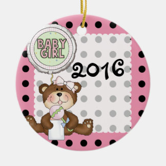 Teddy Bear Black Dot on Pink Double-Sided Ceramic Round Christmas Ornament