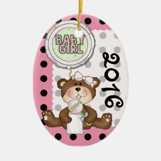 Teddy Bear Black Dot on Pink Double-Sided Oval Ceramic Christmas Ornament