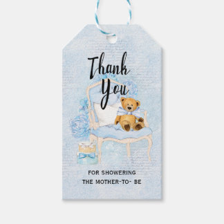 Teddy Bear Blue Baby Shower Gift Tag