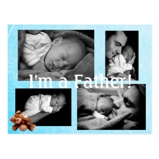 Teddy Bear Blue, I am a Father Birth Announcement Postcard