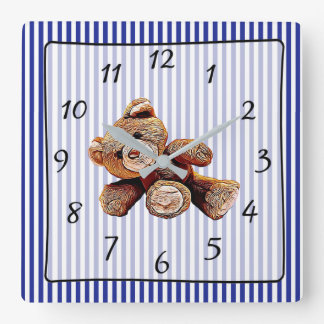 Teddy Bear Blue Striped Baby's Nursery Clock