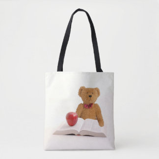 Teddy bear book and apple tote bag