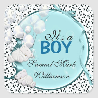 Teddy bear boy baby announcement square sticker