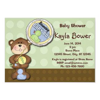 Teddy Bear Boy Brown Green Baby Shower 13 Cm X 18 Cm Invitation Card