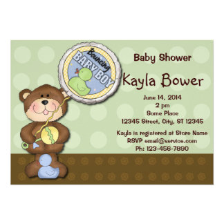 Teddy Bear Boy Brown Green Baby Shower Custom Invitation